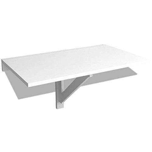 vidaXL Mesa Plegable de Pared Blanca 100x60 cm Mesita Auxiliar Abatilble Muro