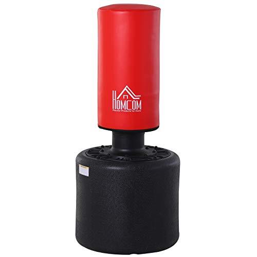 HOMCOM Sac de Frappe Boxe autoportant Punching Ball Hauteur réglable Ø 56 x 145-175 cm HDPE Rouge Noir