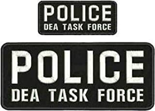 Police DEA Task Force EMBRIDERY Patch 4X10 and 2X5 Hook ON Back Black/WHITW by HighQ Store