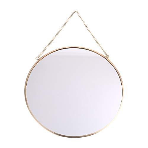 Henan Espejo redondo para colgar en la pared, color dorado, tocador, espejo de maquillaje, decoración de baño