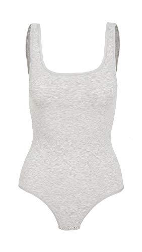 Yummie Women's Ruby Cotton Shaping Thong Bodysuit, Heather Grey, S/M