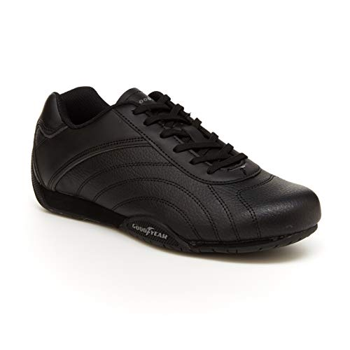 Goodyear Ori Racer Herren Sneaker – Low-Top Sneakers, PU-Leder & Mesh-Futter, Schwarz (schwarz / schwarz), 47 EU