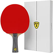 Killerspin JET 600 Table Tennis Paddle, Ping Pong Paddle for Intermediate or Advanced Players, Table Tennis Racket with Wood Blade, Nitrx Rubber Grips Ping Pong Balls, Memory Box for Storage – Red & Black