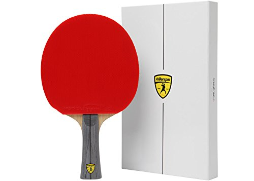 Killerspin JET 600 Table Tennis Paddle, Ping Pong Paddle for Intermediate or Advanced Players, Table Tennis Racket with Wood Blade, Nitrx Rubber Grips Ping Pong Balls, Memory Box for Storage - Red & Black