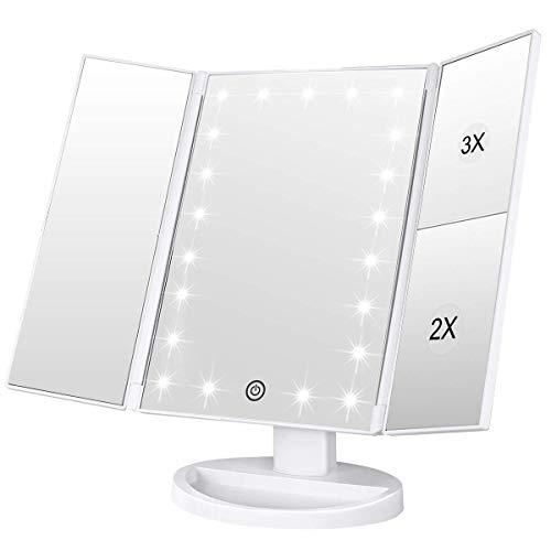 WEILY Espejo de Maquillaje, 1x / 2X / 3X Espejo de Maquillaje de Tres Pliegues con 21 Luces LED y Pantalla táctil Ajustable Espejo Iluminado Tocador Espejos cosméticos de encimera (Blanca)