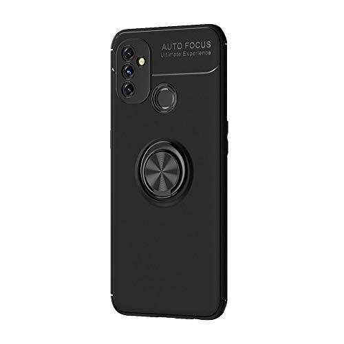 GOGME Adatta per Cover OnePlus Nord N100, degli Urti Smartphone Magnetico Silicone, Ruotabile a 360 Gradi Adatto Supporti Magnetici da Auto Custodia Pratica ed Elegante. Nero+Nero