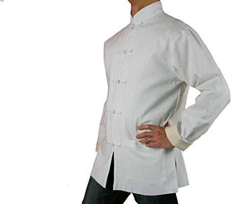 Interact China Handgemachte Weißer Kung Fu Tai Chi Premiumleinen Jacke von Maßschneider #104