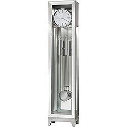 Howard Miller Blayne Floor Clock 611-236 – Modern Silver Finish, Grandfather Vertical Decor with Illuminated Case & Quartz, Triple-Chime Movement
