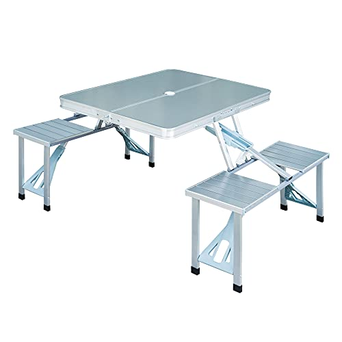 Outsunny Portable Folding Camping Picnic Table and Chairs Stools Set Party...