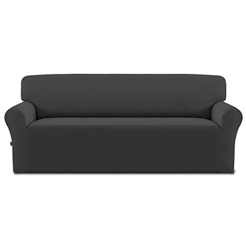 Easy-Going Fleece Stretch Sofa Slipcover – Spandex Non-Slip Soft Couch Sofa Cover, Washable Furniture Protector with Anti-Skid Foam and Elastic Bottom for Kids, Pets(Oversized Sofa, Dark Gray)
