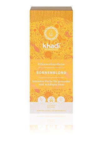 khadi Pflanzenhaarfarbe Sonnenblond 100g I Haarfarbe für warmes, sommerliches Blond I Naturhaarfarbe 100% pflanzlich