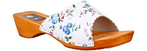RBJ leather shoes Holzschuhe aus Echtleder mit Holzsohle Leder Clogs Pantoletten (37 EU, Blumen 876)
