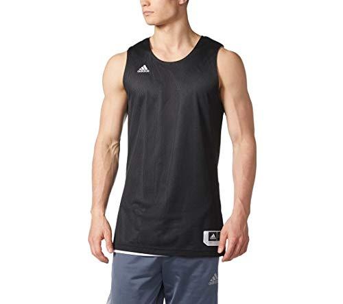 Camiseta de tirantes Adidas para hombre con insignia de deporte clásico (negro/blanco, grande)