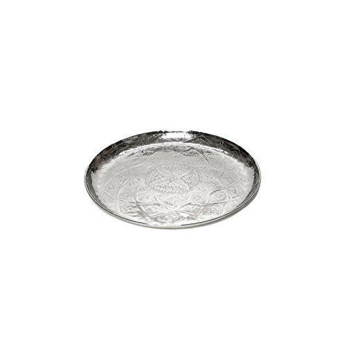 Brillibrum Plateau de service design rond en aluminium argenté - Motif oriental - 35 cm de diamètre