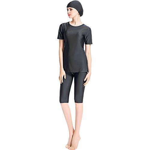 Zimuuy Damen Bademode Frauen Muslim Badeanzug Mit Kappe Islamischen Bescheidene Beachwear Damenmode Schwimmanzug (L, Schwarz)