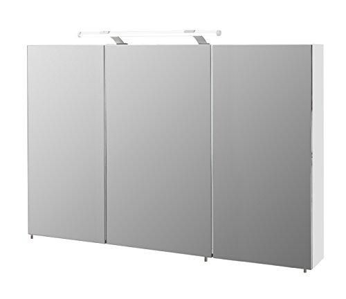 Schildmeyer Spiegelschrank, Melaminharzbeschichtete Spanplatte, weiß, 120 x 16 x 71 cm