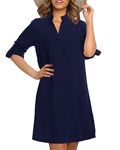 YOINS eleganckie szyfonowe bluzki sukienki dla kobiet w rolce rękaw koszula sukienka z długim rękawem sukienka z dekoltem w serek t-shirty topy