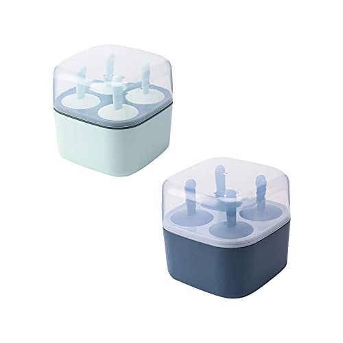 U/D 2 Pack Homemade Popsicle Molds Shapes, Frozen Ice Popsicle Maker, Reusable Easy Release Ice Pop Maker with Spill-Resistant Removable Lid Ice Pop Molds Trays