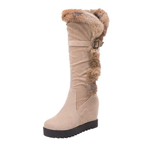Damen Wildleder Low Heel Mid-Leg Stiefel Schnürstiefel Schnee Klassische Schnalle Winter Plüsch Schuhe(37 EU,Beige)
