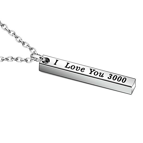 JJIA I Love You 3000 Necklace for Women Men Dad Mom Boyfriend Gifts Girlfriend Gifts Christmas Birthday Gifts