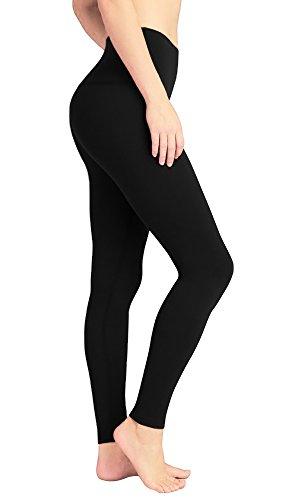 DeepTwist Yoga Hose für Damen Hohe Taille - Full-Length Leggings mit Breiten Bund Schwarz, UK-DT4005-Black-S