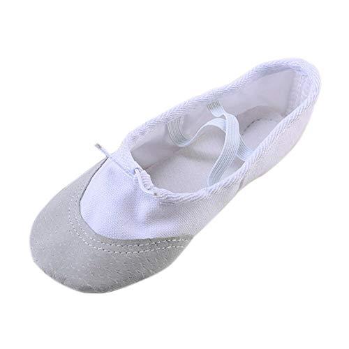 Meijunter Fille Femmes Chaussures de Danse de Ballet Semelle en Cuir Adultes Non Slip Toile Gymnastique Yoga Pantoufles Plates avec Bande Élastique