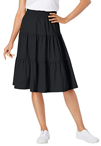 Woman Within Women's Plus Size Jersey Knit Tiered Skirt - 22/24, Black