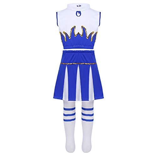 Alvivi Disfraz de Animadora para Niña Azul 3Pcs Traje de Porrista Danza Chica Tank Tops y Falda Calcetines Altos Media para Fiesta Actuación Coplay 5-14 Años