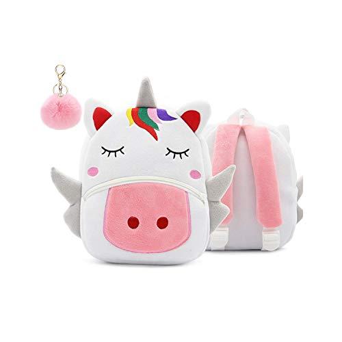 Puyang Kinder Rucksack Einhorn Plüsch Tier Cartoon Kleinkind Schule Tasche für Kinder Jungen Mädchen Vorschule Rucksack (2–4 Jahre) mit Bommel Schlüsselanhänger Einhorn S