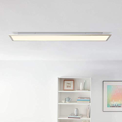 LED Panel Deckenleuchte mit indirekter Hintergrundbeleuchtung, 120x30cm, 62 Watt, 4540 Lumen, 2700-6200 Kelvin aus Metall/Acryl in nickel eloxiert