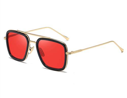 anteojos de sol cuadradas estilo aviador retro para hombre y mujer, marco de metal, lentes planas de tony stark, lentes de sol, Dorado/Rojo (Gold Frame/Red Lens), L