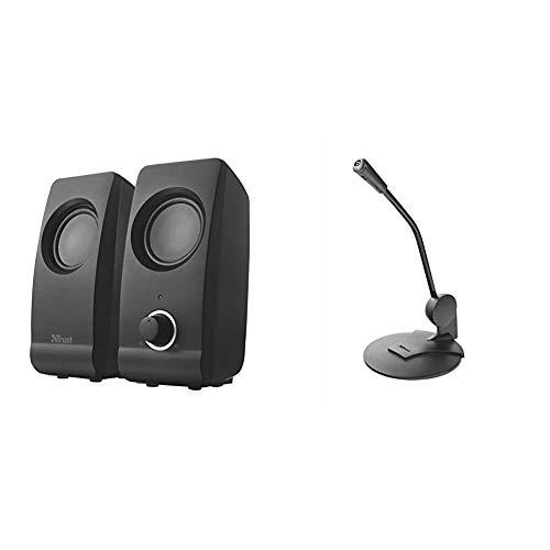 Trust Remo - Set de Altavoces de Ordenador de 16 W (2.0, 3.5 mm), Negro + Primo, Micrófono con Cable, 1, Negro