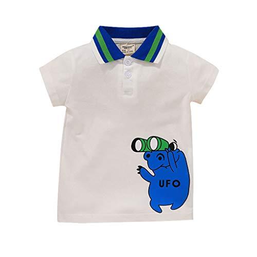 Camiseta de verano cálida para niño y niña, camiseta corta con cuello en V, polo con solapa de manga corta con dibujos animados, ropa informal para niños beige 2-3 años