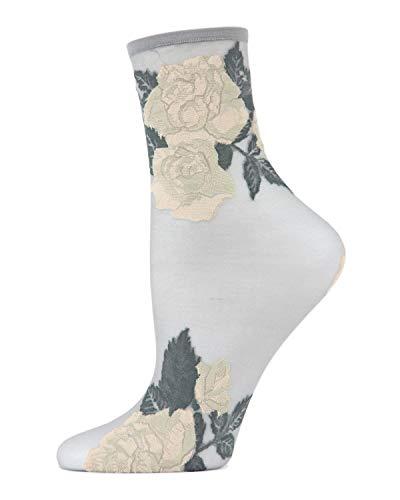 MeMoi Beauty Rose Garden Sheer Anklet Sock | Womens Socks Alloy One Size