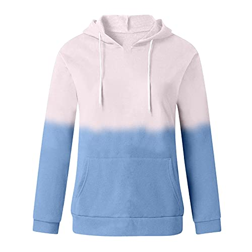 Uqiangy Hoodie Womens Classic Basic Hooded Athletic Top Lady Lightweight Casual Sweatshirt Blouse With Pocket,Multicolor (J-Blue, 18)