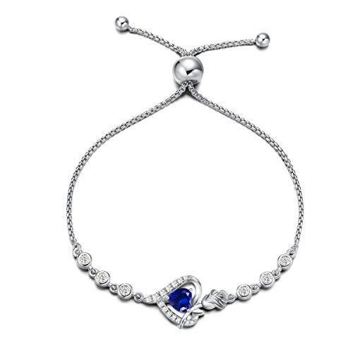 Agvana Pulseras de plata de ley con piedra natal para mujer, de plata de ley auténtica o creada con piedras preciosas, con forma de corazón, para el día de la madre