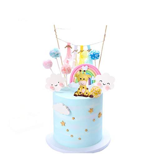 YZCX Decorazione Torta Kit Compleanno Cake Topper Nuvola Arcobaleno per Bambini Ragazzo Ragazza (Giraffa)