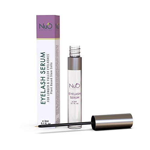 NuOrganic Eyelash Serum | Organic Plant Based Stem Cell, Lash Growth Serum | Thicker, Fuller, Longer Lashes | Natural Ingredients with Active Peptides | Hypoallergenic, Vegan (3ml)