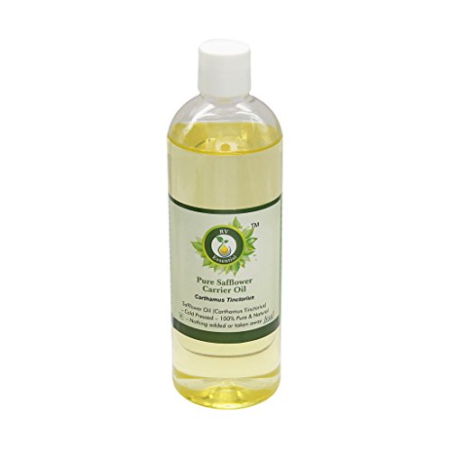 R V Essential Puro aceite del portador de cártamo 100ml (3.38 oz)- Carthamus tinctorius (100% puro y natural Fría presionado) Pure Safflower Carrier Oil