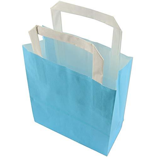 trendmarkt24 Papiertragetaschen blau 6 Stück mit Papiergriff Papiertüten ca. 18x22x8 cm Papiertaschen Kraftpapier Geschenkstüten Einkaufstüten Papiertragetüten basteln | 23299-A