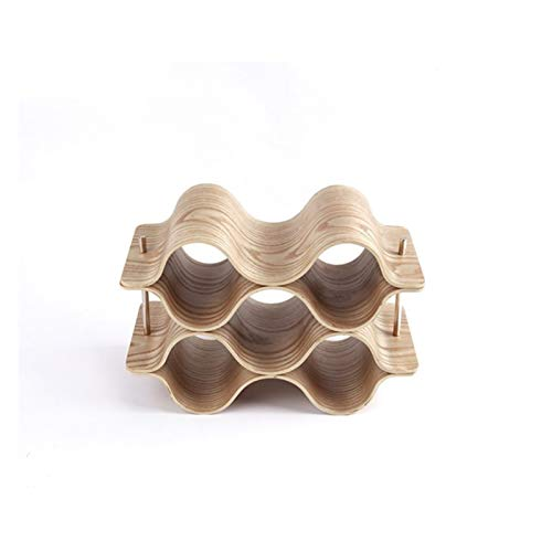 Botellero de Vino Estante de vino, 4/3/2 capas ola de madera creativa casa de uva vino gabinete vino gabinete de vino de madera sólida botella de almacenamiento de bastidor de barras de barra de dicie