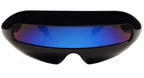 Futuristic Cyclops Mirror Single Lens Oval Sunglasses (Purple Lens)
