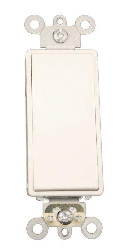 Leviton 5657-2W 15 Amp, 120/277 Volt AC Decora Plus Rocker, Single-Pole, Double Throw, Center OFF, Commercial Grade, Self Grounding, White