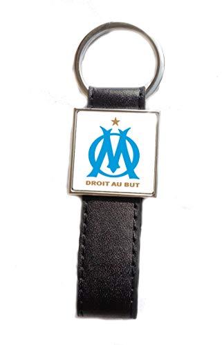 Porte-clés Acier/Simili Cuir Logo Football Om (Olympique Marseille)