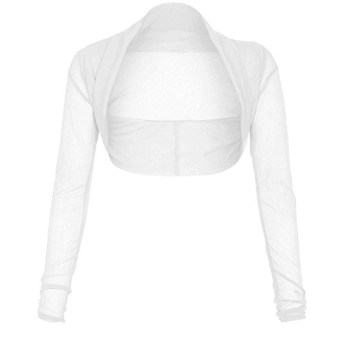 The Celebrity Fashion Womens Ladies Full Mesh Sheer Chiffon Bolero Cropped Shrug Top Cardigan 8-26 White