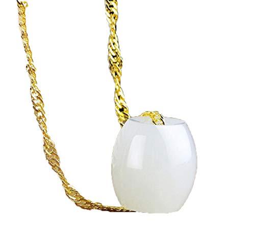 ZHIBO Collar de la suerte con colgante de jade hetiano natural para mujer