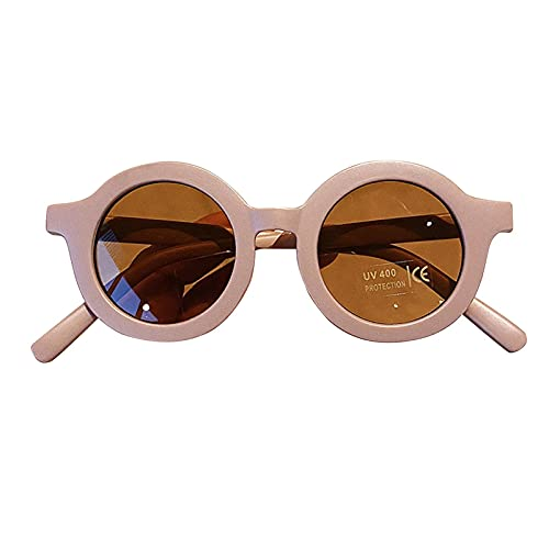 Estrella-L Gafas de sol para niños Color sólido redondo Anti-UV 400 Gafas de sol Color caramelo Hombres y Mujeres (Blanco), Soja, Medium