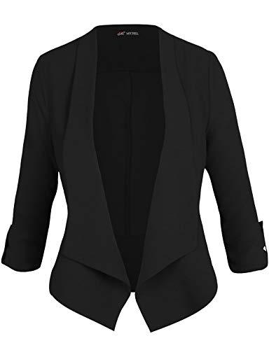 Michel Women's Casual 3/4 Sleeve Open Front Blazer Cardian Jacket Work Office Blazer Black Small