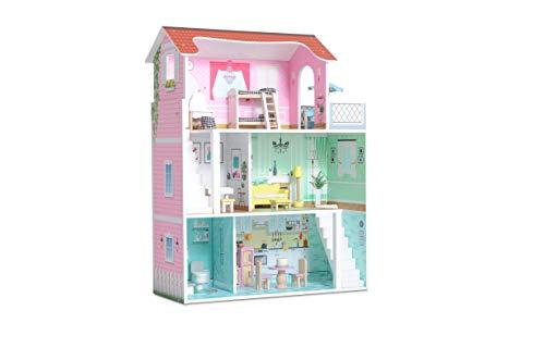 Milliard Casa delle Bambol in Legno con 20 Accessori y Mobili, 3 Livelli di Gioco, per Bambina