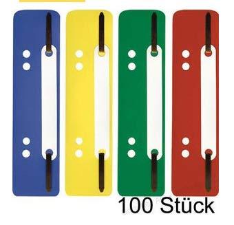 100 Stk. Heftstreifen farbig sortiert 35x150 mm aus PP (4 x 25 Stk.)